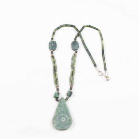 Emerald unpolished stone and string necklace