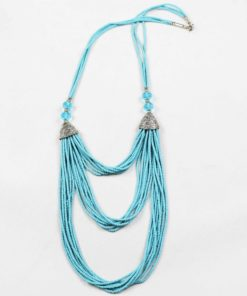 Heated Turquoise stone multiple strings necklace
